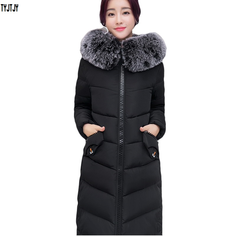 Winter jacket women fashion 2018 knee winter coat long collar feather padded new thick
