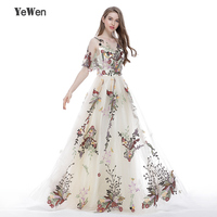Embroidery Evening Dress New Arrival Women Sleeveless Long Sexy Half Sleeves Plus Size Prom Dresses 2017