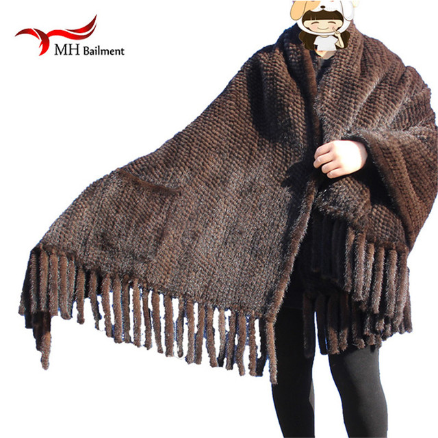 Elegant Real Knitted Mink Fur Shawl Scarf Womens Casual Poncho Knitted Mink Fur Black Scarves Scarf, Hat Glove Sets S#2 4