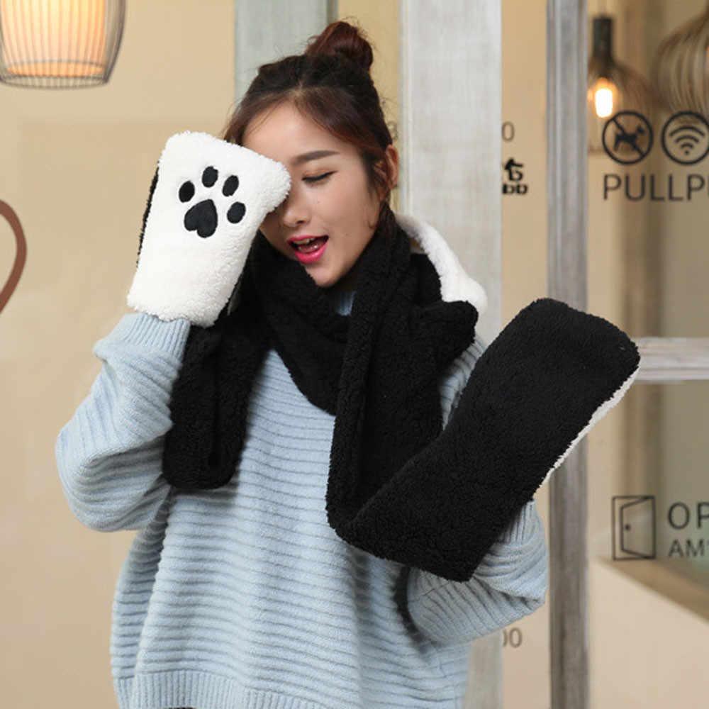 Женские утепленные Зимние перчатки для езды на велосипеде, искусственный мех, зимний теплый пушистый шарф-капюшон, шапка, снуд, карманные шапки, перчатки, панды, женские перчатки Inv