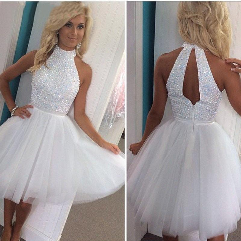 8b4e74608a30 Hot Sale White Beaded Sequined Short Prom Dresses A Line High Neck Keyhole  Back Cheap Homecoming