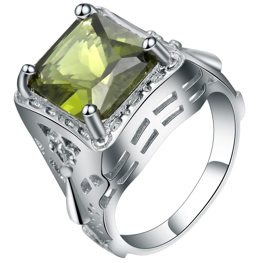 Vintage Light Green Square Crystal Ring For Women White Gold Filled Simple Design Ladies Cubic Zirconia Bead Finger Ring Jewelry