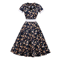 2017 New Cotton Summer Dress For Women 60s Vintage Dress Daisy Floral Print Elegant Pattern Belts