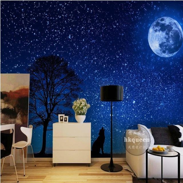 Moderno E Minimalista Carta Da Parati Blu Sogno Cielo Stellato Luna