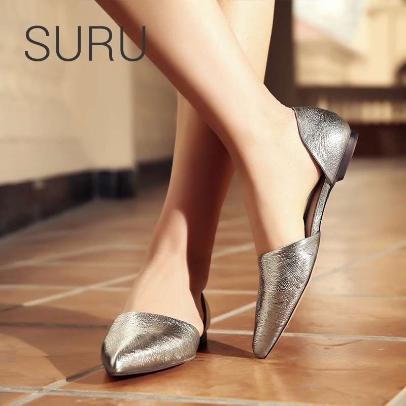 Bout Femmes gray D'orsay Réel Suru En silver Pointu Cuir Chaussures Appartements Gold qInXUxvw