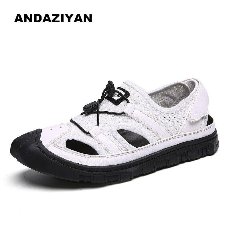 Casual Verão Sapatos Pescador Respirável Sandálias Moda Preto Nova Oco branco cinza rrEnqPfUw