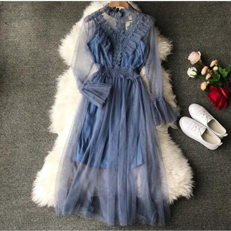 Luxe dentelle 2019 printemps été lanterne manches longues Sexy pure maille robes doux femmes genou longueur Crochet robe