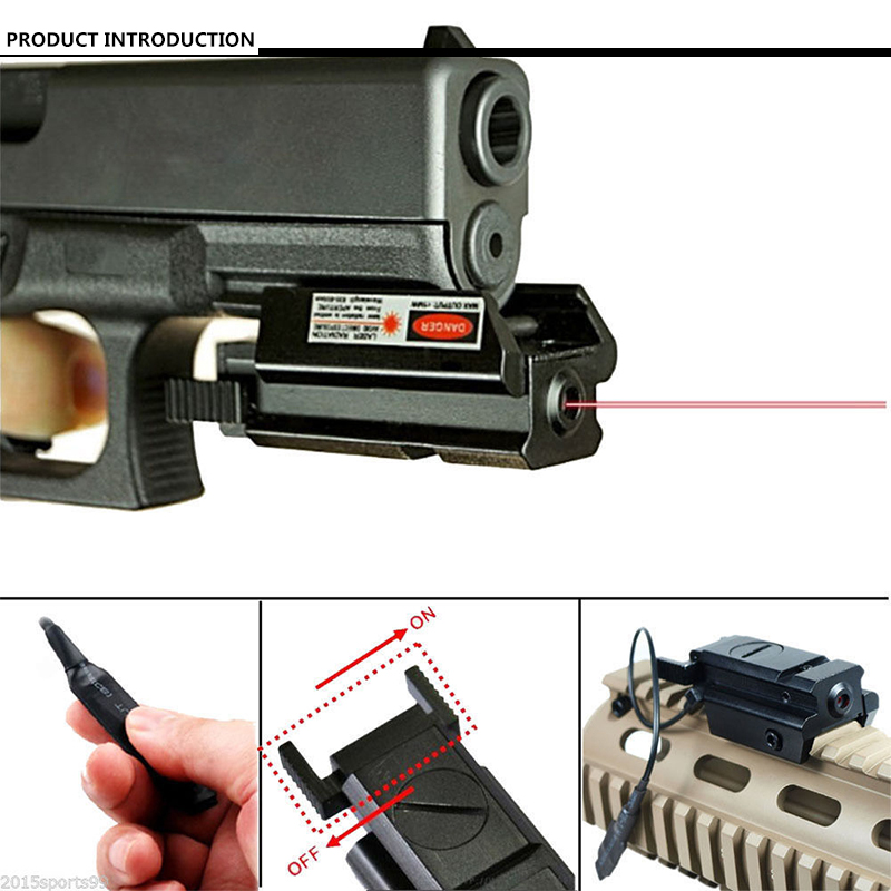 Tactical Rail Mount Low Profile Red Dot Laser Sight - Pressure Switch for Pistol Handgun