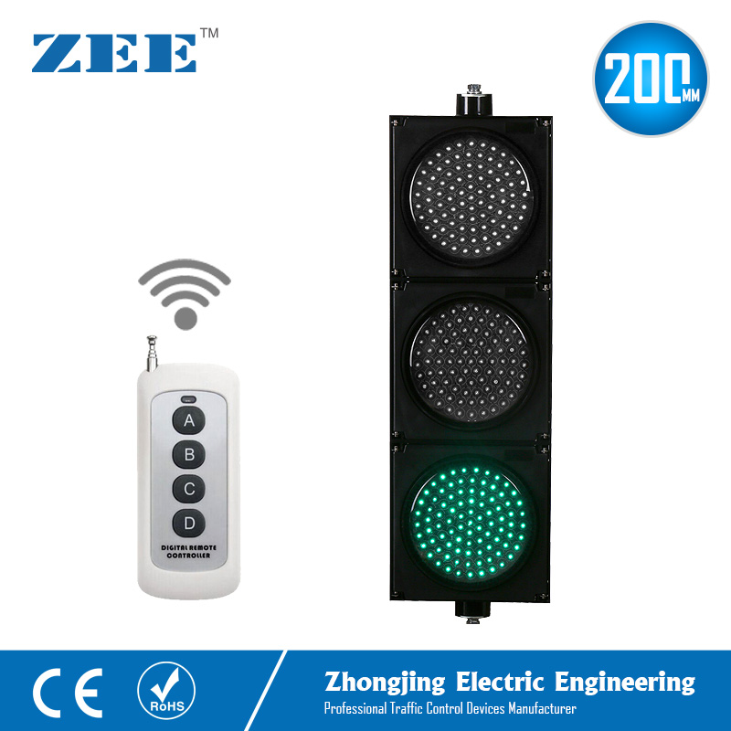 Remote Controlled 200mm LED Traffic Signal Light Wireless Controller Signs 220V 12V 24V