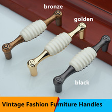 Retro fashion shell ceramic furniture handle 128mm white ceramic dresser handle 96mm bronze black kitchen cabinet drawer pull 5″