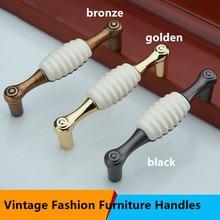 Retro fashion shell ceramic furniture handle 128mm white ceramic dresser handle 96mm bronze black kitchen cabinet drawer pull 5″