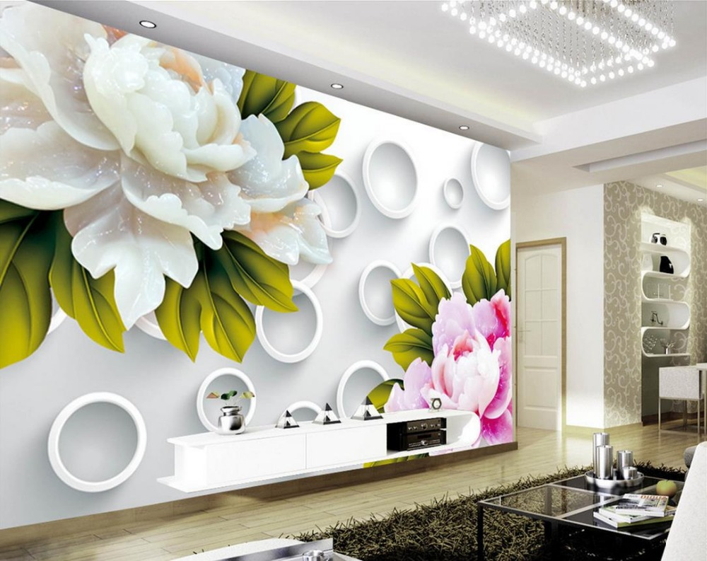 3d wallpaper for room 3D Circle Jade Carving Peony Background Wall ...