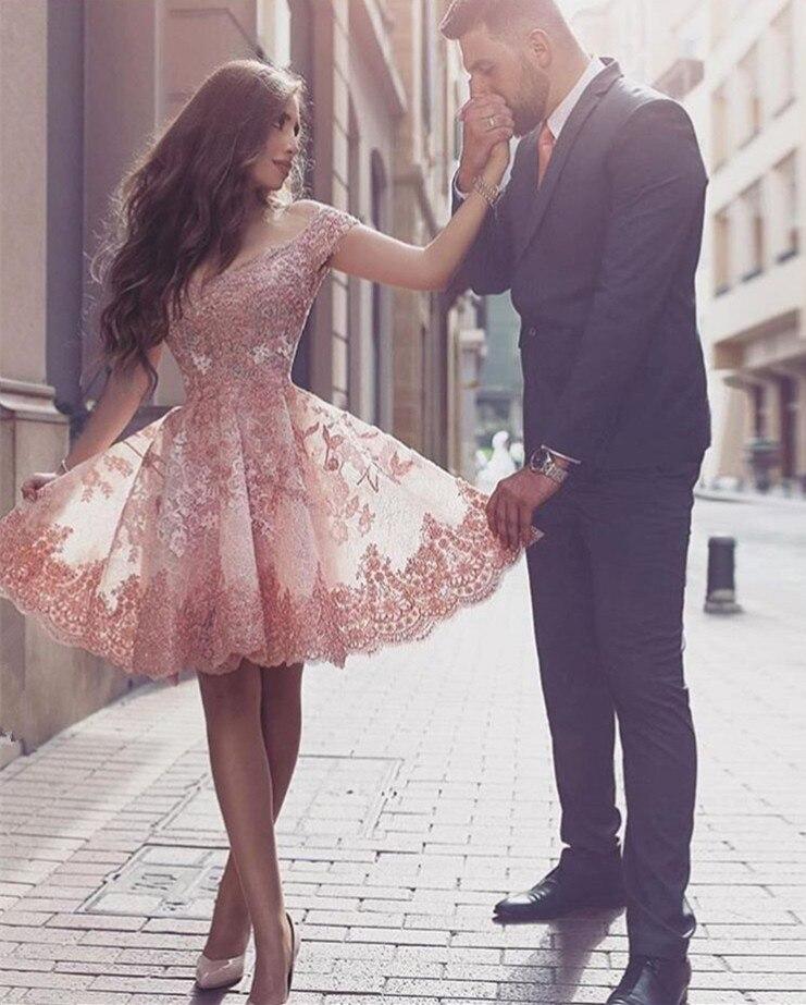 Weddings & Events Romantisch Elegante 2019 Homecoming Kleider A-linie V-ausschnitt Cap Sleeves Knie Länge Appliques Spitze Kurze Cocktail Kleider Modische Muster