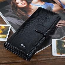 Klassischen krokoprägung rindsleder lange design frauen geldbörse aus echtem leder lackierte weibliche portemonnaie