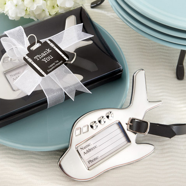 Free Shipping 12pcslot Wedding Favors Destination Love Chrome