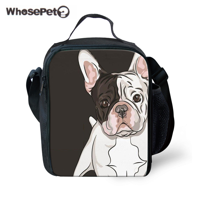 WHOSEPET Children Cute Lunch Bag Bull Dog Printing Thermal Picnic Bags Students Food Storage for School Kids Portable Lunchbox