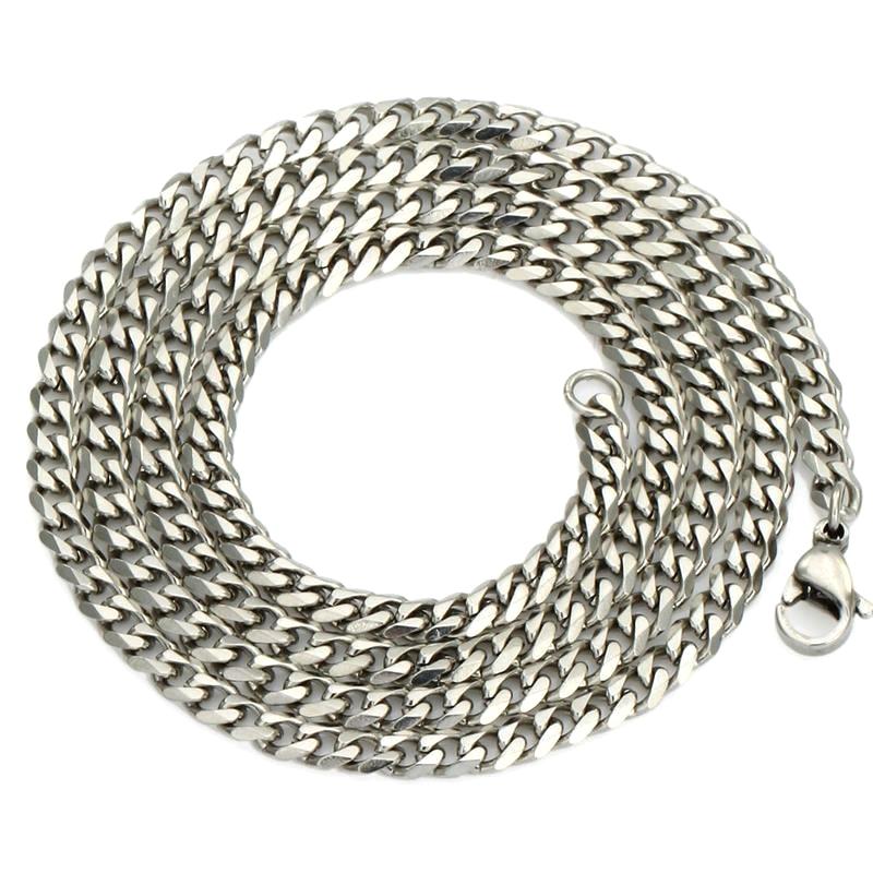 "KUNIU Gourmette Man Perhiasan 5/7 MM 20 ""/ 22"" 24 ""Kalung Stainless Steel Rantai Perak Kuba Rantai Kalung Kuba untuk Pria"