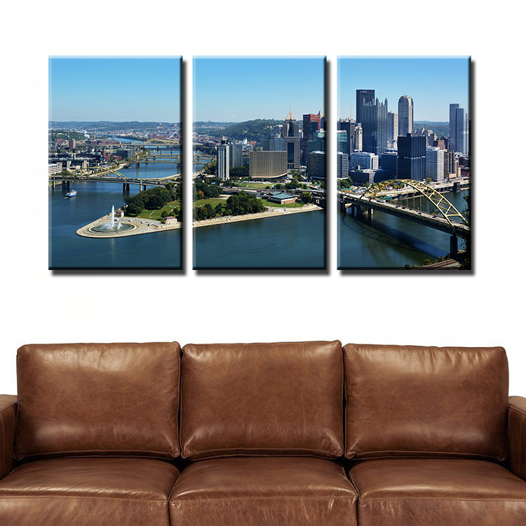 2016 Cuadros Decoracion Modern Home Decor 3 Pieces Painting Wall Art Pittsburgh Picture Print On Canvas