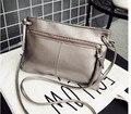 2017 summer postman bag small zipper bag female solid shoulder bag leather Messenger bag ladies bag