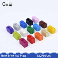120Pcs/Lot MOC Thick Brick 1x2 Plate Building Block Plate Part accessories DIY kit toys children Designer Compatible with