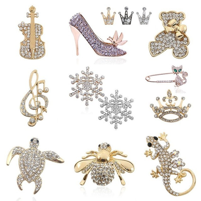 611389ac09 US $1.17 30% OFF|Bling Rhinestone Brooch Animal Brooches Pins Bee Tortoise  Lizard Bear Music Note Guitar High heeled Shoes Crown Brooch Xmas Gift-in  ...
