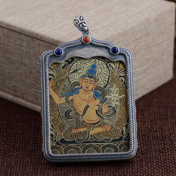 NEW 925 Silver Tibetan Manjushri Buddha Thangka Pendant Necklace Pure Silver Tibetan Manjushri Buddha Statue Necklace Pendant buddha sounds buddha sounds v new mantrams