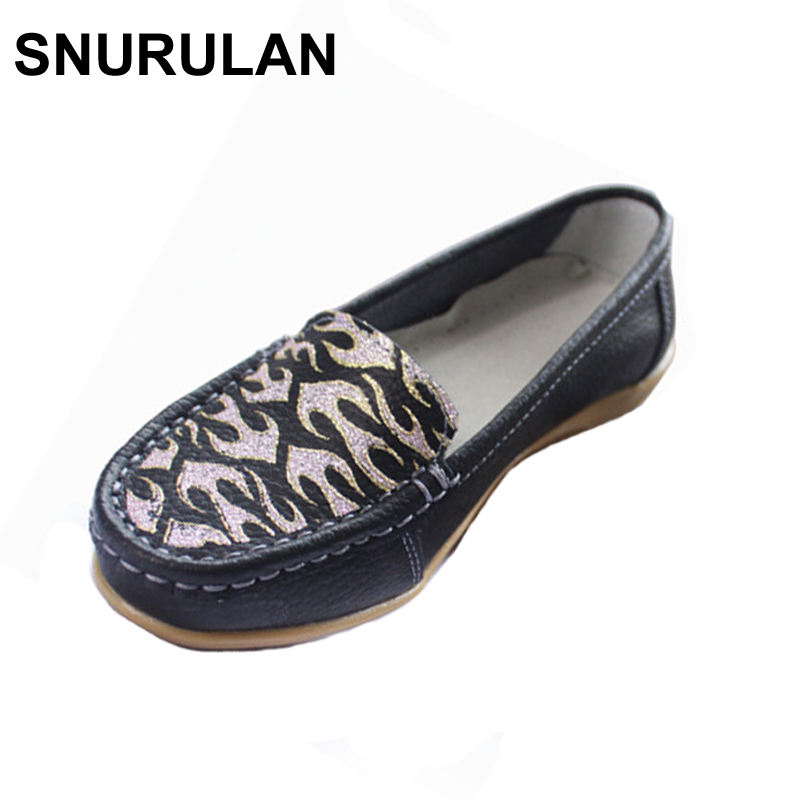 SNURULAN Women's Casual Shoes Cow Leather Woman Flats Shoe Fashion Moccasins Female Loafers Slip On Boat Shoes Leisure Mother winter fur women loafers slip on leather ladies flats warm plush driving boat shoes woman moccasins new casual female solid shoe