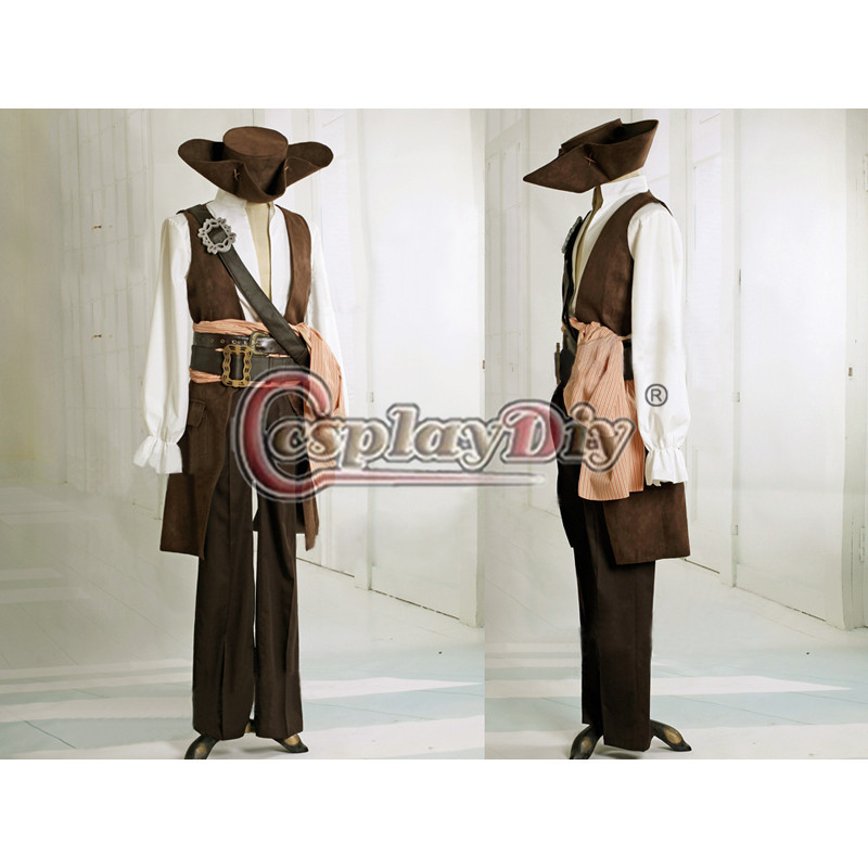 Cosplaydiy por encargo Piratas del Caribe capitán Jack Sparrow traje para  Halloween Cosplay traje b0a227863775