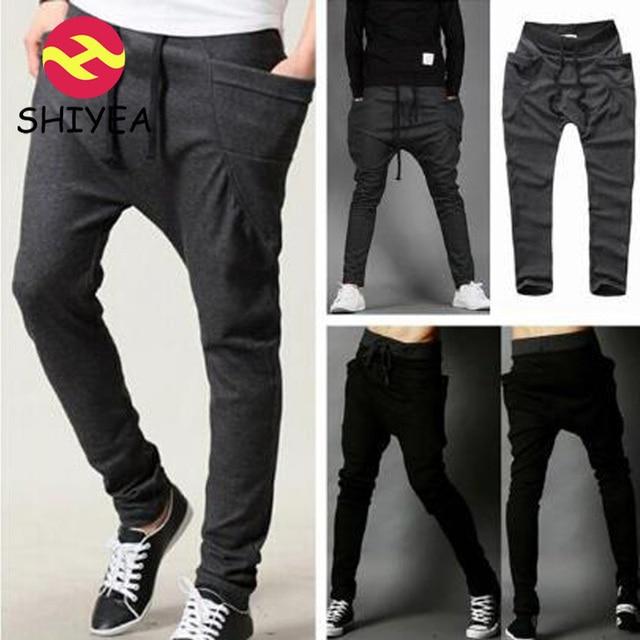 c3064468ca Para hombre Hip Hop pantalones Slim Fit pitillo pantalones Harem hombres  coreanos aire libre gota entrepierna