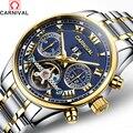 Montre homme известный карнавал 2017 Новый турбийон механические часы мужские стальные полосы водонепроницаемые автоматические часы большой кале...