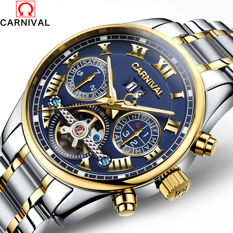 montre homme famous carnival 2017 new tourbillon mechanical watches men steel strip waterproof