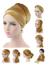 Fashion Velvet Women Hijab Hats Scarf Muslim Women Headscarf Turban Head Cap Hat Ladies Hair Accessories Islamic Inner Cap New
