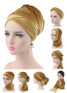Image 1 - Foulard en velours pour femmes, Hijab, foulard pour femmes musulmanes, Turban, chapeau de tête, chapeau pour dames, accessoires pour cheveux, casquette intérieure islamique, nouvelle