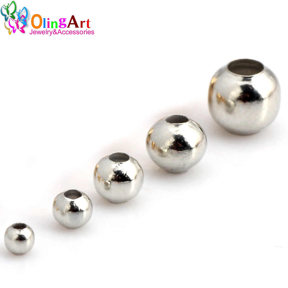 OlingArt Iron Round 2.4/3.2/4.0/5.0/6.0mm Plating rhodium Spaced beads Bracelet necklace earring DIY jewelry making necessity