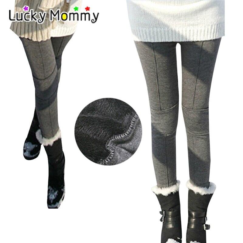 M-XXL Plus Velvet Maternity Leggings Winter Warm Clothes for Pregnant Women Patch Line Maternity Pants Pregnancy Clothing