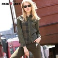 2016 New Arrivals Autumn women t shirts Stripe vintage Long-sleeved shirts Army Green Turn down Collar Casual blusas GS-892