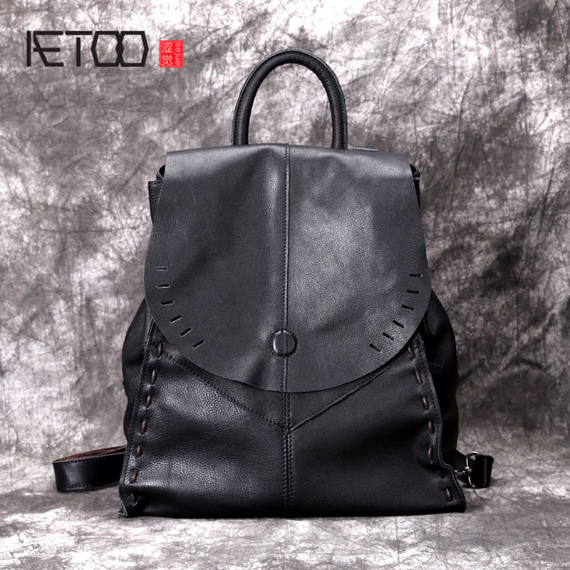AETOO New retro backpack female leather soft leather original handmade leather bag British old leather travel
