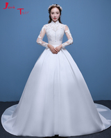 Jark Tozr Real Picture High Neck Long Sleeve Beading Appliques White Satin Luxury A line Wedding Dresses 2019 Aliexpress Login