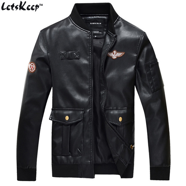 2017 Новый LetsKeep Весна PU Кожаная Куртка авиатор мужчины ввс один черный куртки Пальто мужские A-2 пилот кожаная куртка 4XL, MA239