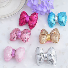 Hot Sale 12pcs/lot Fashion stereoscopic sequins bowknot fabrics barrettes for baby gilrs cute knot hairpins accessories 6 colors