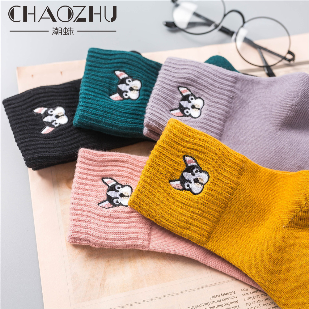 CHAOZHU Women Cute French Bulldog Embroidery Grey Green Pink Black Yellow Five Colors Cotton Knitting Winter Autumn Warm Socks