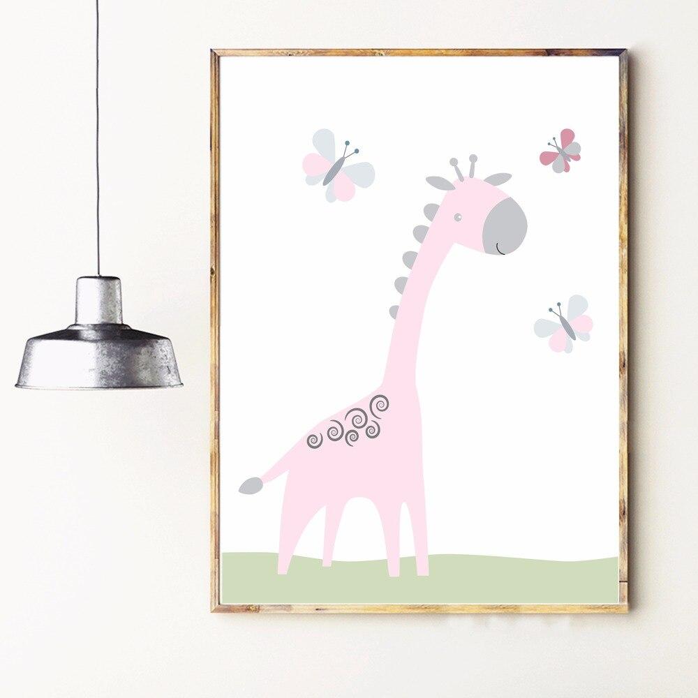 Slon a žirafa školka Umělecká reprodukce Malba Plakát Nástěnné obrázky Pro děti Pokoj Domácí Dekorace Ložnice Bez Rámu