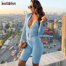 InstaHot Deep V-Neck Cotton Playsuit Sexy Women Shorts Long Sleeve With Belt Rib-Knit Stretchy Jumpsuit Autumn 2019 Romper