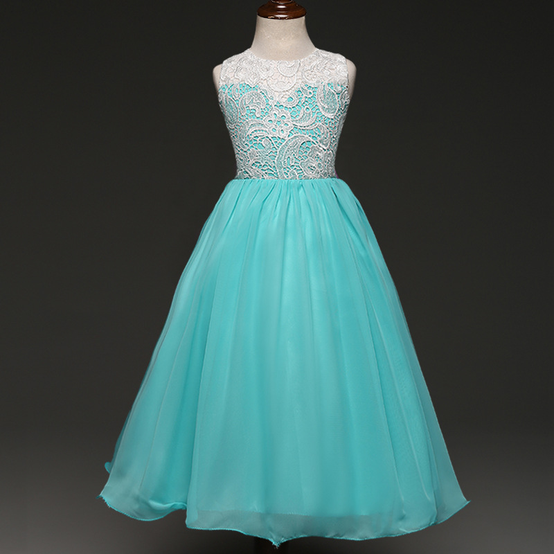 DE PEACH Lace Flowers Princess Girls Party Dresses Summer Sleeveless ...