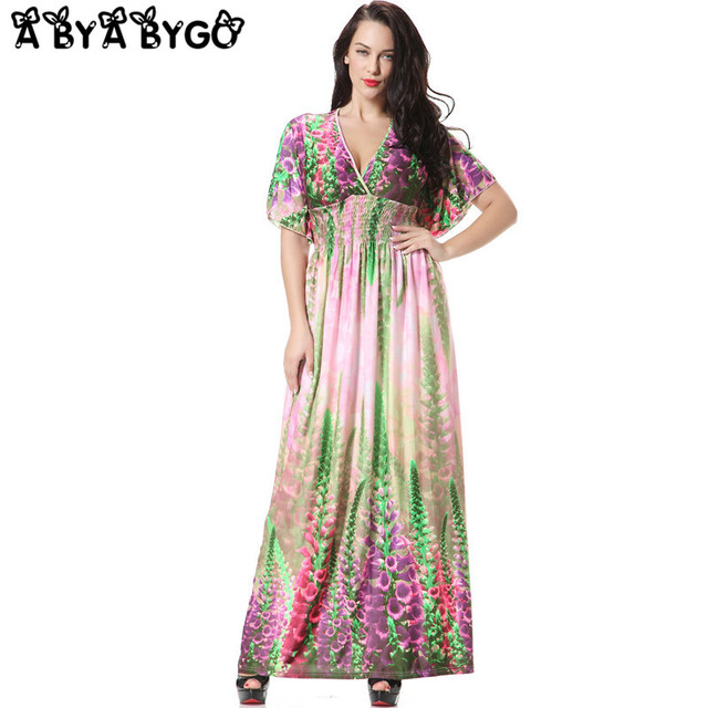 011dcc1c90e9 ABYABYGO 2018 Summer Dress Party Long Dress Sexy Vestidos V-Neck Lavender Plus  Size Women Clothing Casual Floral Dresses 6XL 7XL