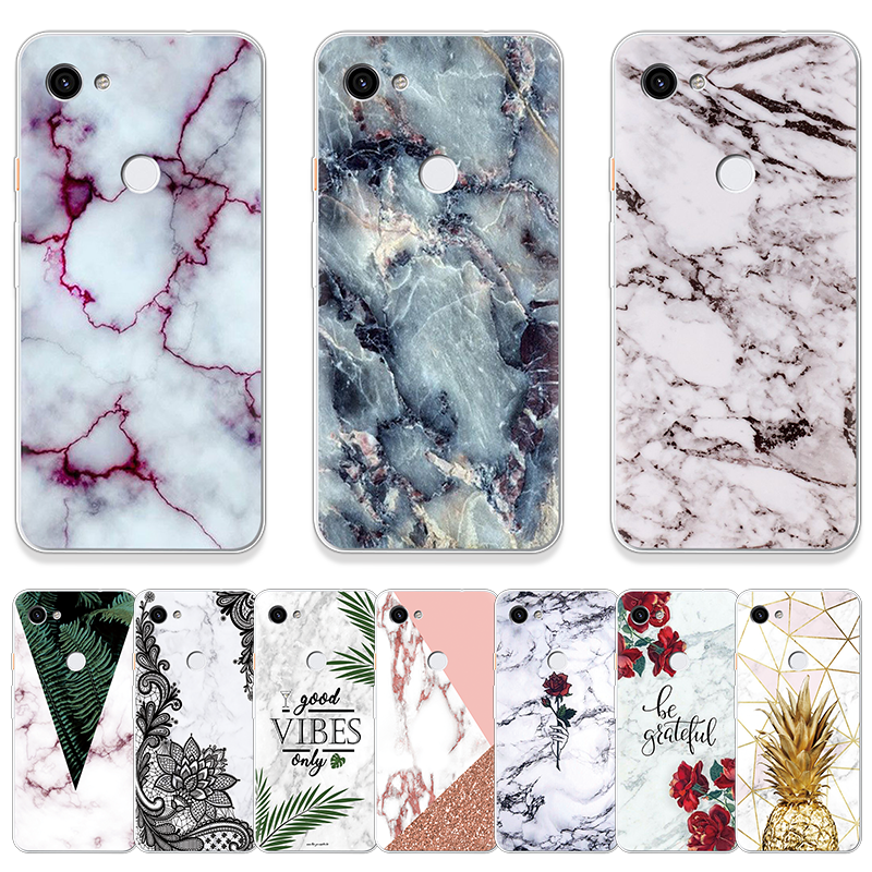 Marble Flower Phone Case For Google Pixel XL 3 3a XL Soft Printed Pattern Transparent Silicone Cover For Google Pixel 2 XL Coque