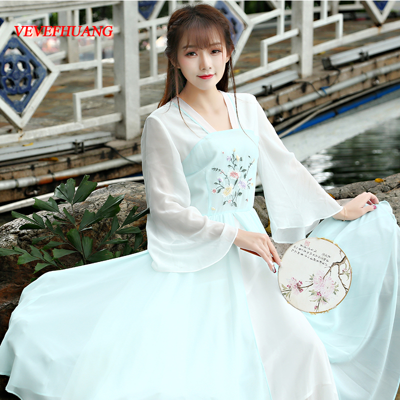 New Spring Summer Vintage Women dress Flare Sleeve Slim Embroidery Color Matching Long Hanfu Dresses Turquoise L0758