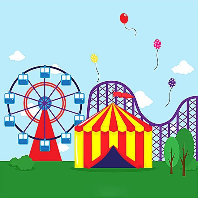 Vinyle Sevilla tente aire de jeux carrousel grande roue cirque fête toile de fond vert herbe ballon arrière-plans pour Studio Photo
