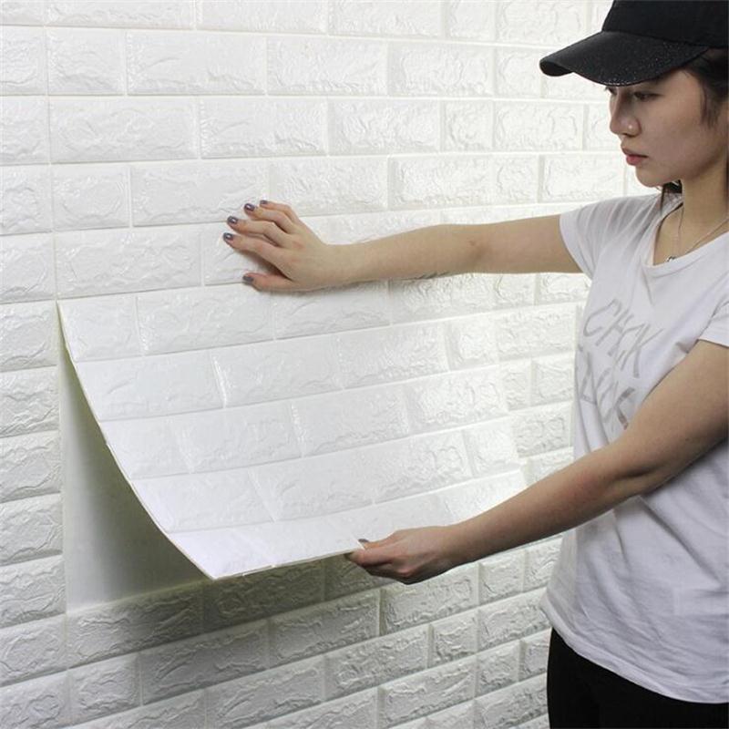 70*77cm 3D PE Foam Stone Brick Wall Stickers Home Decor Living Room Art Mural Kids Safty Self-adhesive Embossed DIY Wallpaper
