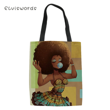 ELVISWORDS Fashion Womens Handbags Black Afro Girls Pattern Canvas Totes Bag African Ladies Casual Female Shoulder Bags
